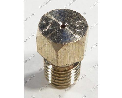 Жиклер для баллонного газа диаметр резьбы M6 шаг резьбы 0,75 Ø-0.75мм для плиты