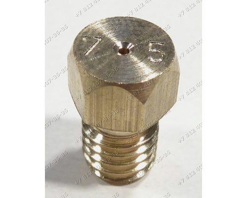 Жиклер для сжиженного (баллонного) газа диаметр резьбы M6 шаг резьбы 1,0 Ø-0.75 мм для плиты