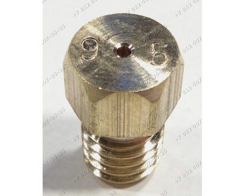 Жиклер для сжиженного (баллонного) газа диаметр резьбы M6 шаг резьбы 1,0 Ø-0.95 мм для плиты