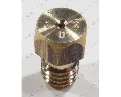 Жиклер для сжиженного (баллонного) газа диаметр резьбы M6 шаг резьбы 1,0 Ø-1.02 мм для плиты