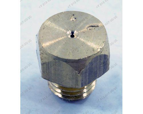 """Жиклер для малой горелки газовой плиты Гефест на баллонный (""""сжиженный"""") газ D 0,46 мм M6 шаг резьбы 0,75 мм, ключ 8 1200.00.0.053-10"""