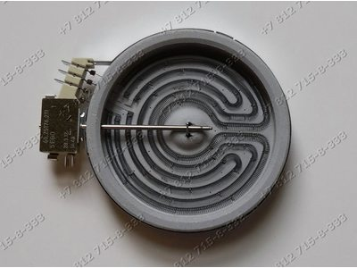 Конфорка стеклокерамика для плиты Hansa Indesit Ariston 145 мм (165 мм) 1200W 10.74431.054 10.74433.004