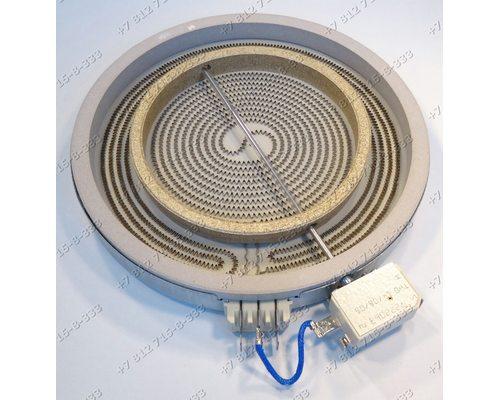 Конфорка стеклокерамика 2312333822, 16001761700, 2200W/1000W двухзонная D230 мм для плиты Ariston Indesit