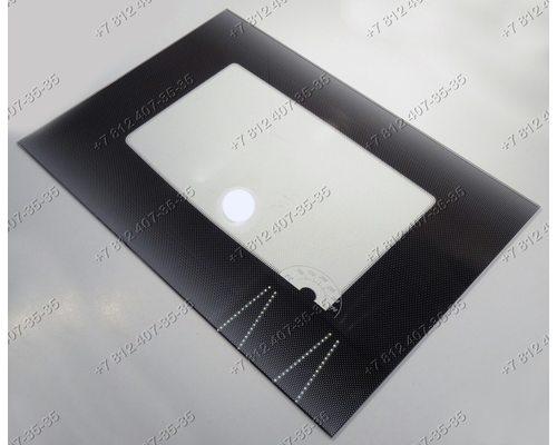Внешнее стекло духовки газовой плиты Гефест 1100-05, 1100-06, 1100-07 и т.д. 598*417 мм Черное с термоуказателем