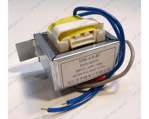 Cиловой трансформатор TDE-6.0-B7 DA26-00037A Input: 240V 50Hz, Output: 16.0VAC 0.25A для холодильника Samsung