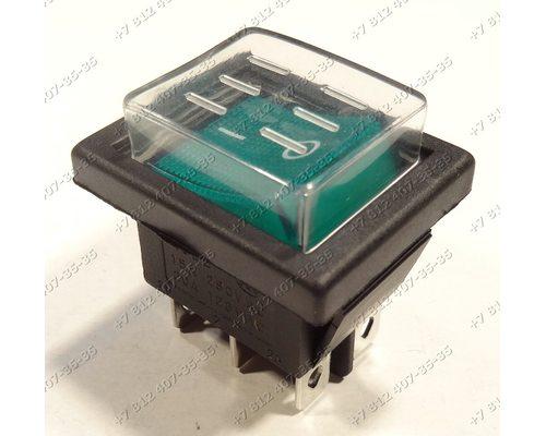Клавиша включения - выключатель широкая, 2 положения, 6 контактов, с влагозащитой, KCD2, 15A, 250V