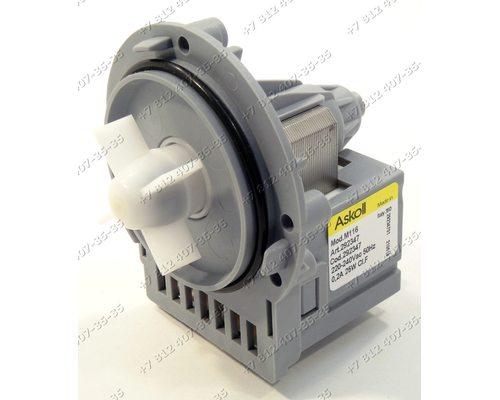 Помпа для стиральной машины Askoll Mod. M116 Art 292347 25 W на саморезах, контакты под разъем (фишку)