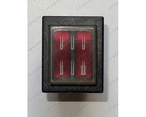 Блок переключателей 16A 6-полюсной 2 выключателя с подсветкой для водонагревателя Thermex